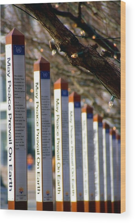 World Peace Wood Print featuring the photograph Olympic Truce Posts by Steve Ohlsen