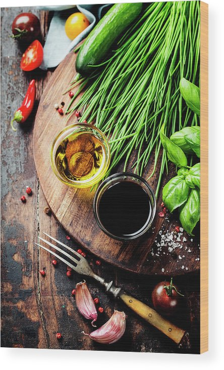 Food Wood Print featuring the photograph Organic Vegetables And Spices by Natalia Klenova