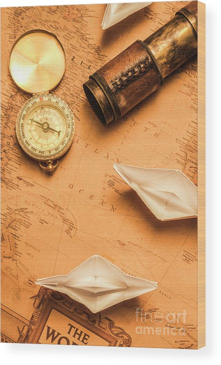 Boat Wood Print featuring the photograph Origami Paper Boats On A Voyage Of Exploration by Jorgo Photography - Wall Art Gallery
