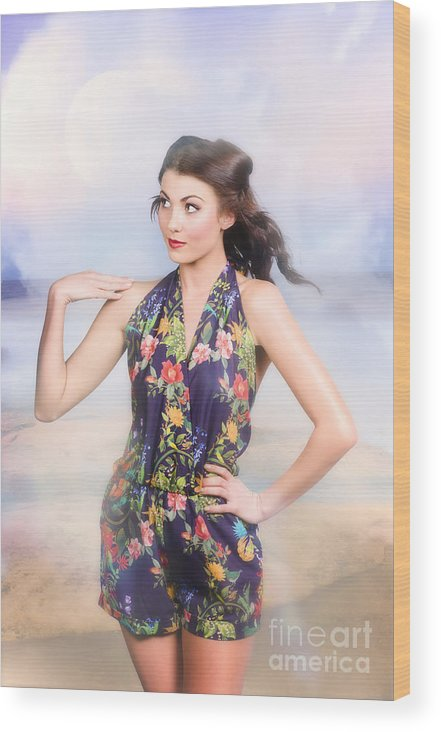 Fashion Wood Print featuring the photograph Outdoor Fashion Portrait. Spring Twilight Beauty by Jorgo Photography - Wall Art Gallery