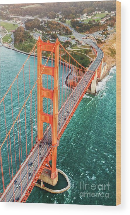 Architecture Wood Print featuring the photograph Overhead Aerial Of Golden Gate Bridge, San Francisco, Usa by Matteo Colombo