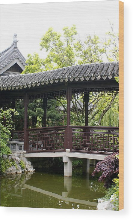 Chinese Garden Wood Print featuring the photograph Pagoda by Sonja Anderson