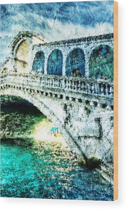 Painted Wood Print featuring the digital art Painted Rialto by Andrea Barbieri