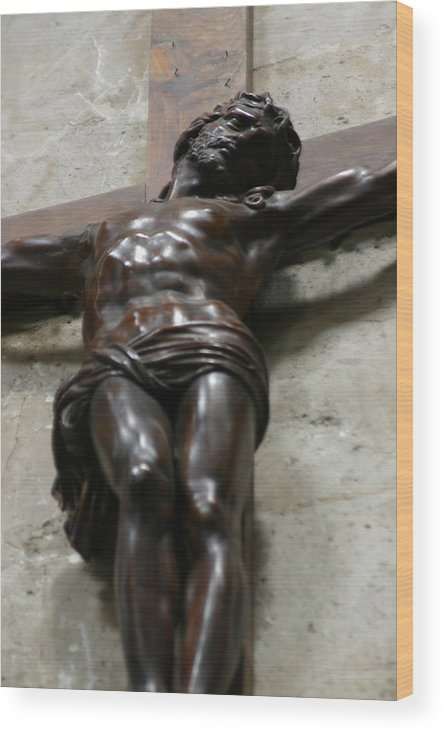 Wood Print featuring the photograph Paris - Jesus On Cross by Jennifer McDuffie