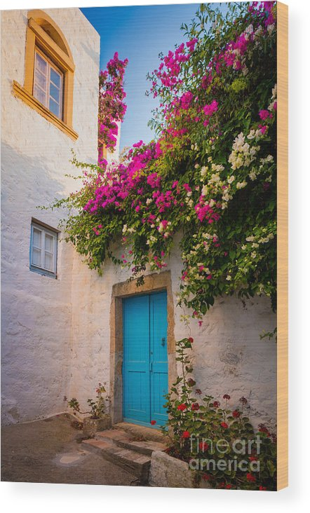 Aegean Sea Wood Print featuring the photograph Patmos Bougainvillea by Inge Johnsson