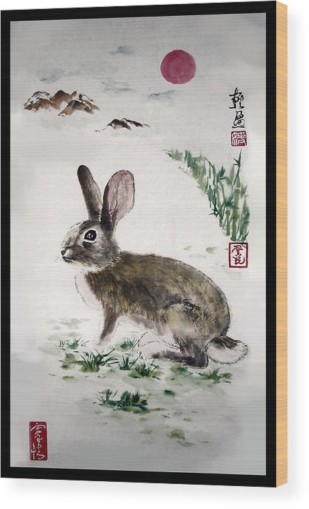 Rabbit Wood Print featuring the painting Peaceful by Lilian Storino