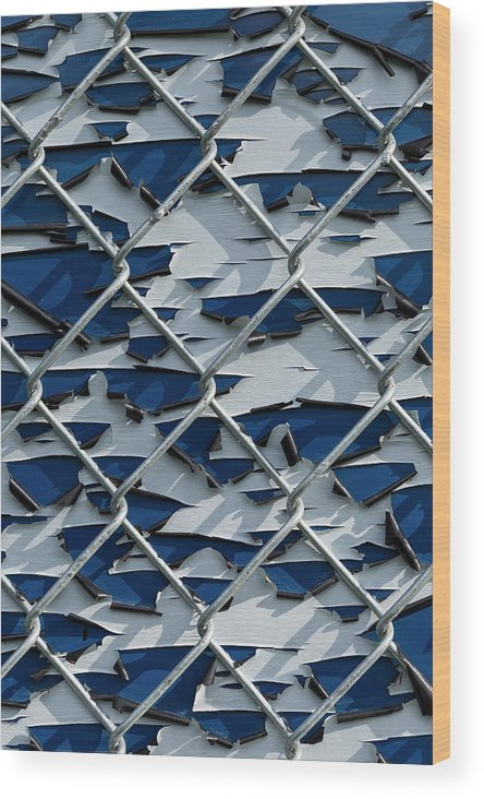 Background Wood Print featuring the photograph Pealing Paint Fence Abstract 3 by John Brueske