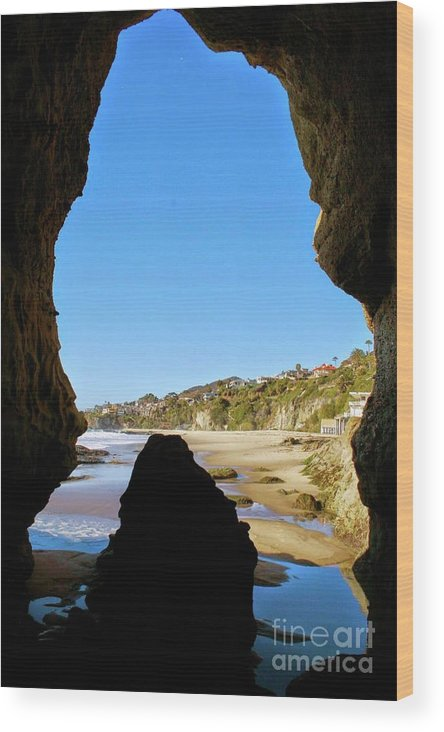 Cave Wood Print featuring the photograph Peeking From Coastal Cave by Heather Gaines