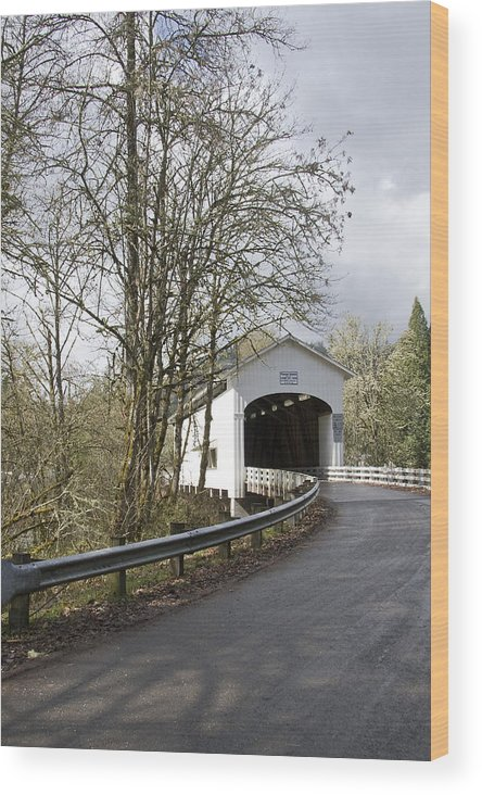 Pengra Bridge; Covered Bridge; Fall Creek; Oregon; Spring; Vertical Wood Print featuring the photograph Pengra Covered Bridge by John Higby