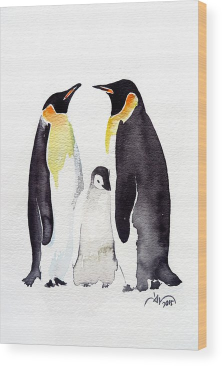 Watercolor Wood Print featuring the painting Penguins by Daniela Valentini
