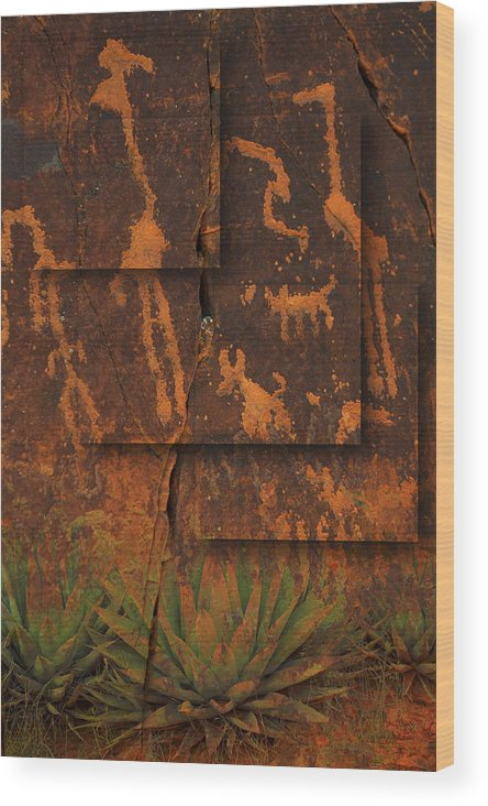 Petroglyphs Wood Print featuring the photograph Petroglyphs Agave by Bob Coates