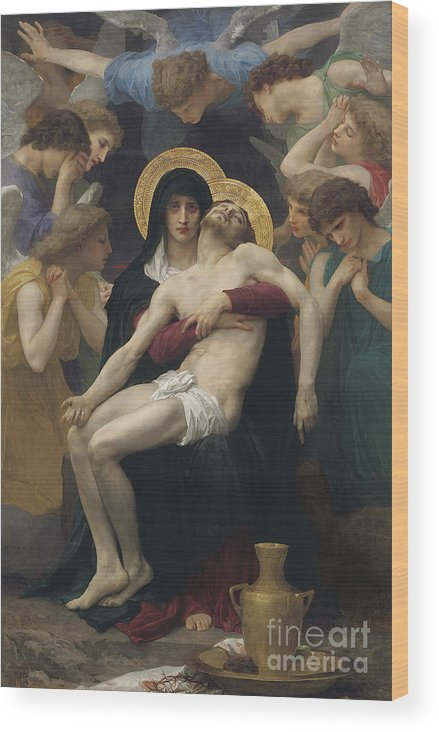 Pieta Wood Print featuring the painting Pieta by William-Adolphe Bouguereau