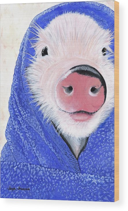 Piglet Wood Print featuring the painting Piglet In A Blanket by Twyla Francois