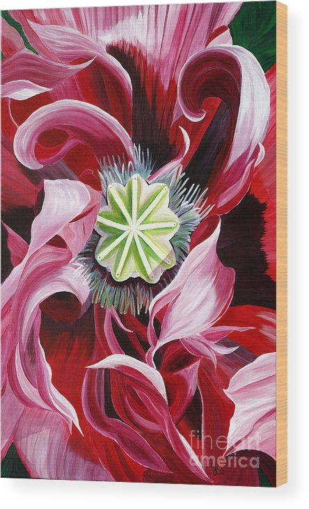 Macro Flower Wood Print featuring the painting Pink Entanglement by Julie Pflanzer