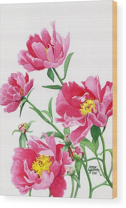 Pink Wood Print featuring the painting Pink Peonies by Linda Hoover