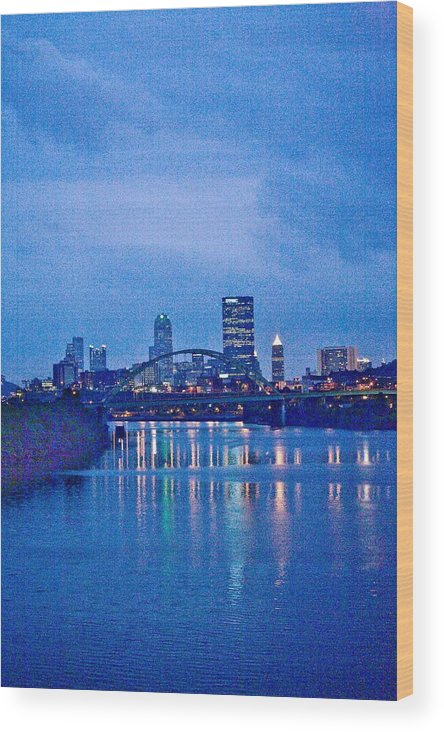 Pittsburgh Wood Print featuring the photograph Pittsburgh In Blue by John Toxey