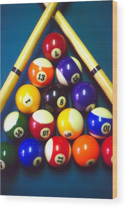 Pool Wood Print featuring the photograph Pool Balls And Cue Sticks by Steve Ohlsen