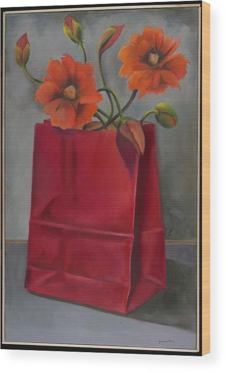 Flowers Wood Print featuring the painting Poppies In A Red Bag by Martha Zausmer paul