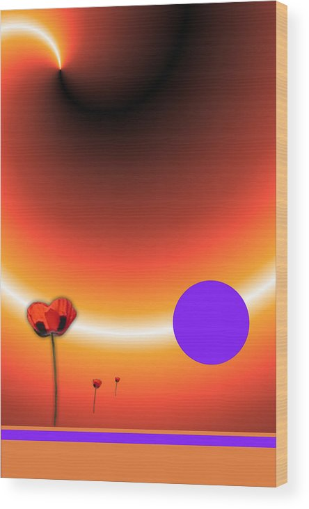 Poppy Wood Print featuring the painting Poppy Sunset by Tina Hariu