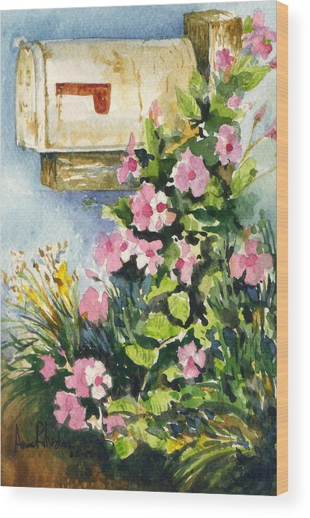 Mailbox Wood Print featuring the painting Postman's Delight by Anne Rhodes