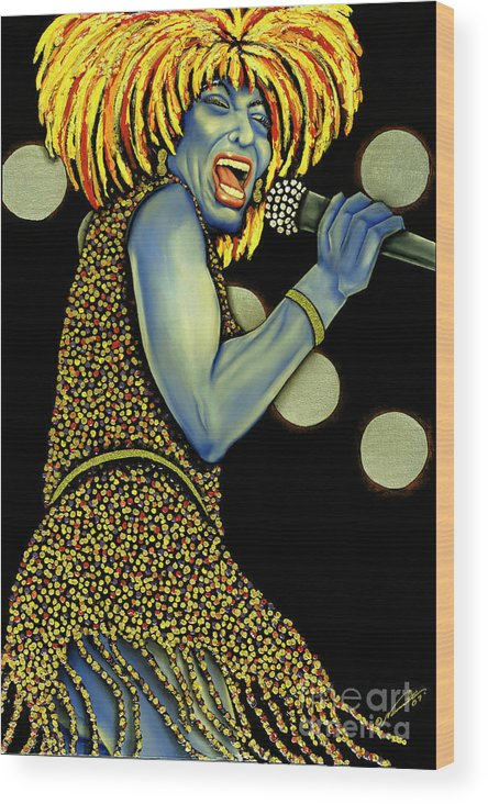 Portrait Wood Print featuring the painting private Dancer by Nannette Harris