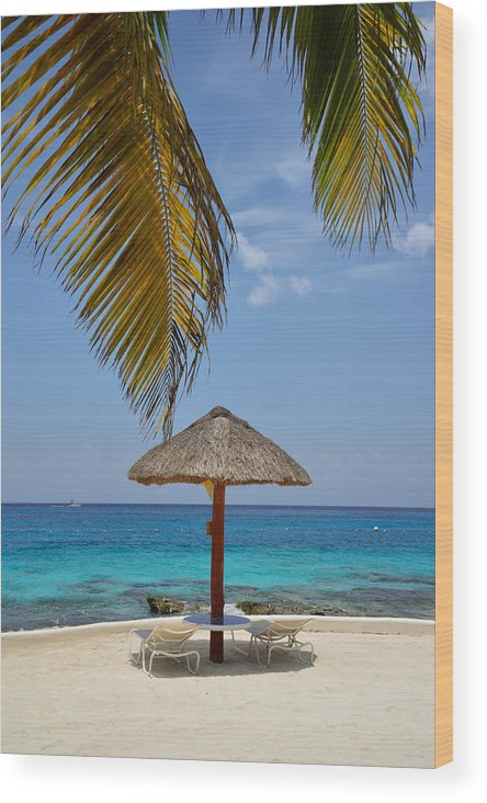 Palapa Wood Print featuring the photograph Private Palapa by Kathy Yates