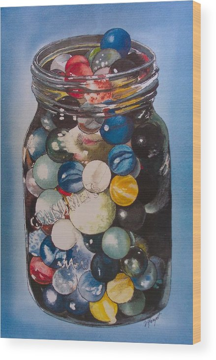 Marbles Wood Print featuring the painting Prized Collection by Victoria Heryet