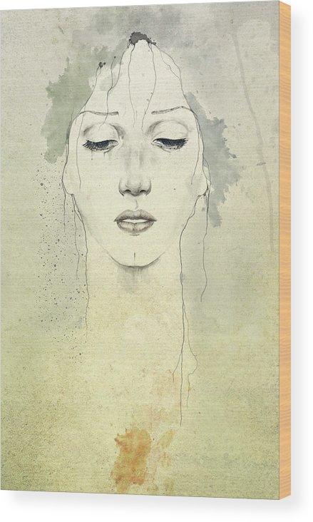 Raining Wood Print featuring the digital art Raining by Diego Fernandez
