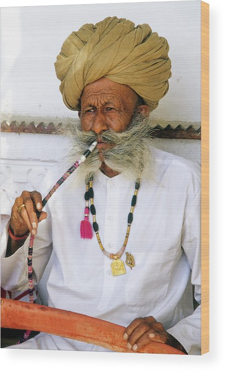 India Wood Print featuring the photograph Rajasthani Elder by Michele Burgess