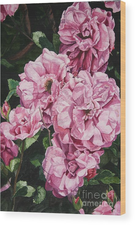 Floral Wood Print featuring the painting Ramblin Rose by Helen Shideler