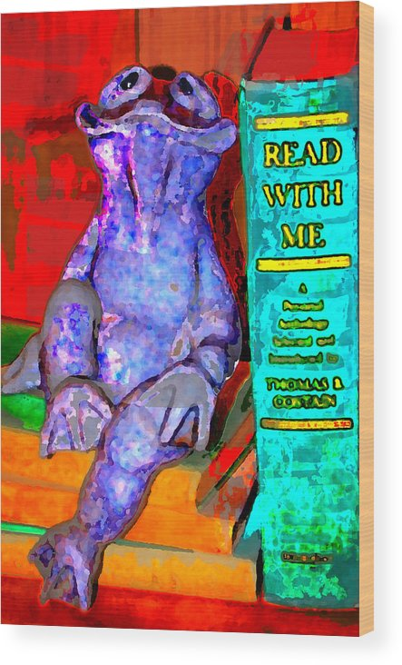 Wood Print featuring the digital art Read With Me Frog by Danielle Stephenson