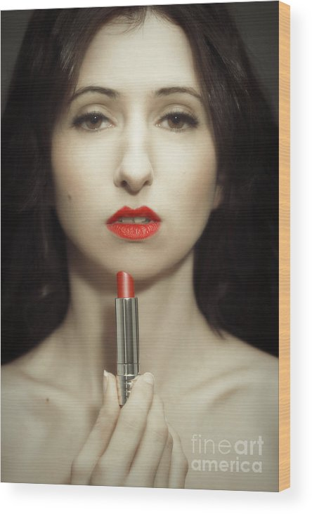 Lipstick Wood Print featuring the photograph Red Lipstick by Amanda Elwell