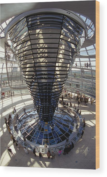 Glass Wood Print featuring the photograph Reichstag In Berlin by Carl Purcell