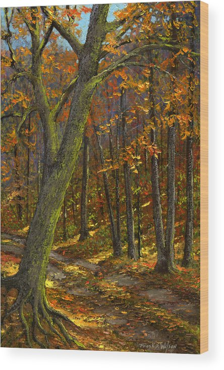 Landscape Wood Print featuring the painting Road In The Woods by Frank Wilson