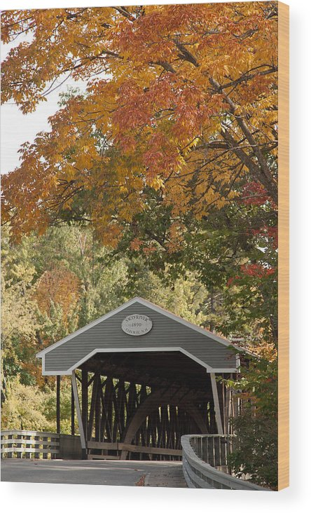 Wood Print featuring the photograph Saco River Covered Bridge Under Fall Foliage by Jeff Folger