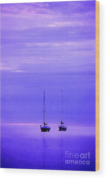 Sailboats Wood Print featuring the photograph Sailboats In Blue by Timothy Johnson