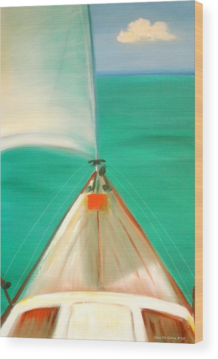 Sea Wood Print featuring the painting Sailing by Gina De Gorna
