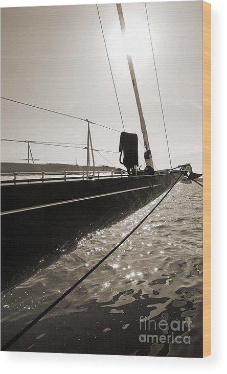 Superyacht Wood Print featuring the photograph Sailing Yacht Hanuman J Boat Bow by Dustin K Ryan