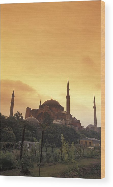 Istanbul Wood Print featuring the photograph Saint Sophia Hagia Sophia At Sunset by Richard Nowitz