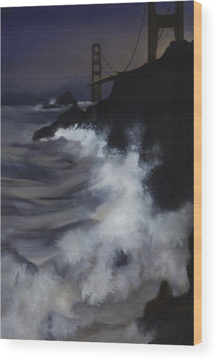 Seascape Wood Print featuring the painting San Francisco Nocturne by Philippe Plouchart
