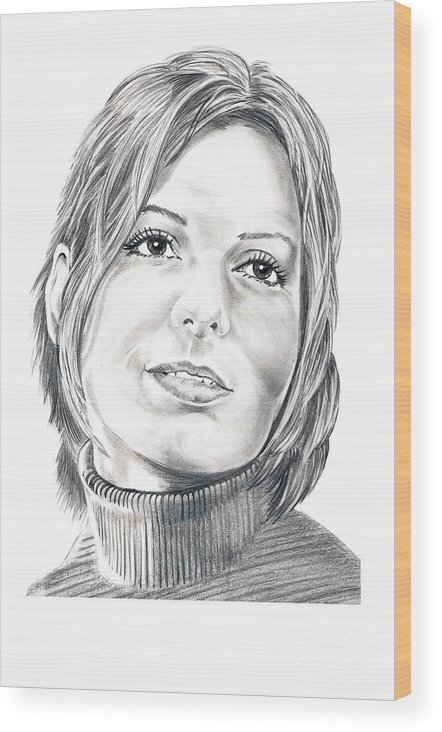 Drawing Wood Print featuring the drawing Sandra Bullock by Murphy Elliott