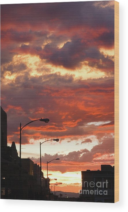 Cityscape Wood Print featuring the photograph Santa Fe At Dusk New Mexico by Julia Hiebaum