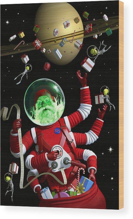 Santa Wood Print featuring the digital art Santa In Space by Alex Tomlinson