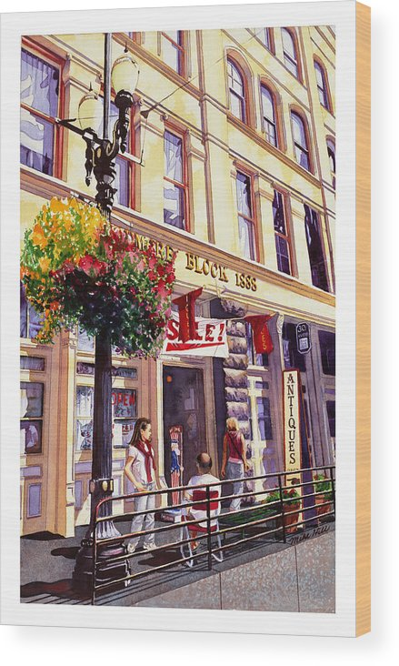 Shopping Old Town Street Scene Antique Portland Oregon Light Rail Building Girl Bald Man Sale Flower Wood Print featuring the painting Sara In Old Town by Mike Hill