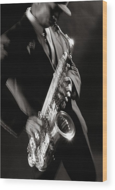Sax Wood Print featuring the photograph Sax Man 1 by Tony Cordoza