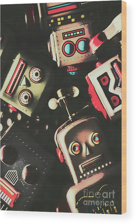 Head Wood Print featuring the photograph Science Fiction Robotic Faces by Jorgo Photography - Wall Art Gallery