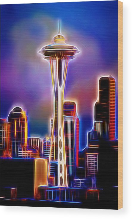 Seattle Space Needle Wood Print featuring the photograph Seattle Space Needle 1 by Aaron Berg