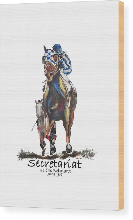 Secretariat Wood Print featuring the painting Secretariat At The Belmont Mural by Amanda Sanford