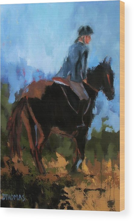 Horse Wood Print featuring the painting Setting Up The Jump by Donna Thomas