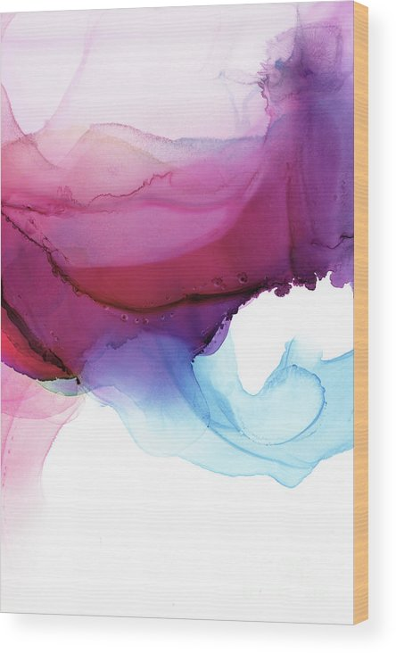 Abstract Wood Print featuring the painting Shades Of Purple by PrintsProject